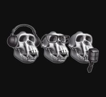 Hear Evil See Evil Speak Evil Monkey Skull by zomboy