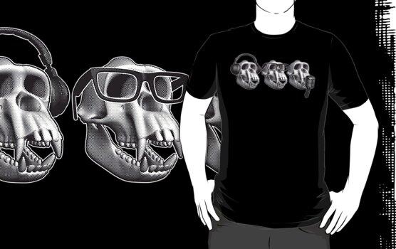 Hear Evil See Evil Speak Evil Monkey Skull by zomboy