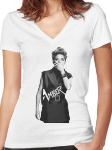 f(x) - Amber Women's Fitted V-Neck T-Shirt