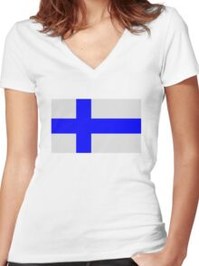 Flag of Finland Women's Fitted V-Neck T-Shirt