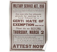 Military service act 1916 Attest now 074 Poster