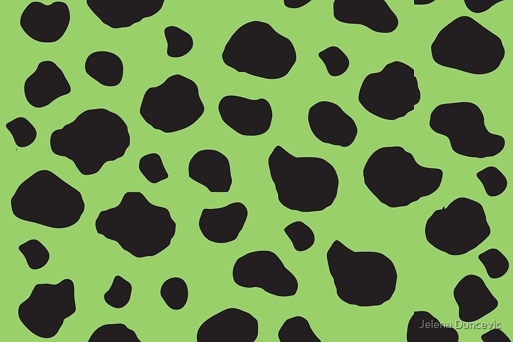 Animal Print (Cow Print), Cow Spots - Green Black  by sitnica