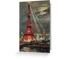 Vintage Antique Eiffel Tower Art Deco Design Greeting Card