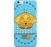 Cat Curled Up In Bed iPhone Case/Skin