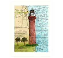St Johns River Lighthouse FL Map Cathy Peek Art Print