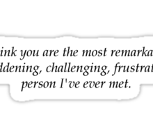 I think you are the most remarkable, maddening, challenging, frustrating person I've ever met. Sticker