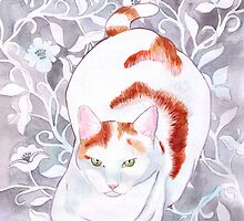 Cat on Grey Silk by RagAragno