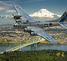 B-17 Over the Tacoma Narrows by Bryan Peterson