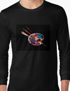 ARTIST COLOUR PALETTE AND BRUSHES Long Sleeve T-Shirt