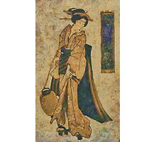 Japanese Woman with Paper Lantern Photographic Print