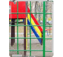 Empty playground in the park against the backdrop of autumn trees iPad Case/Skin