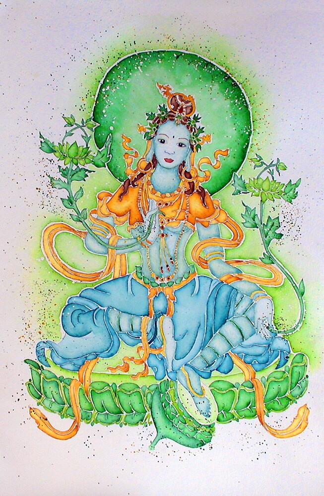 Green Tara in greens by Sophie Jane Mortimer
