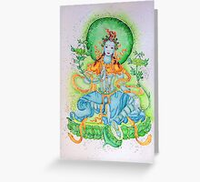Green Tara in greens Greeting Card