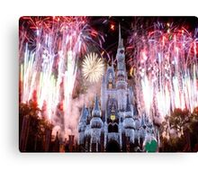 Beautiful Ice Castle with Fireworks Canvas Print