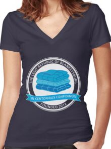 The Legit Republic of Blanketsburg Women's Fitted V-Neck T-Shirt