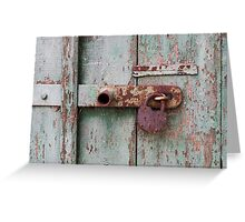 Detail of old wooden door with rusty padlock Greeting Card