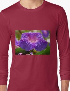 Morning Glory (Ipomoea Purpurea) Petals and Dew Drops  Long Sleeve T-Shirt
