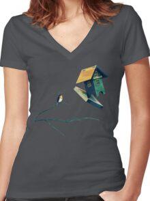 Flying Bird...house Women's Fitted V-Neck T-Shirt