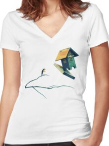 Flying Bird...house Women's Fitted V-Neck T-Shirt