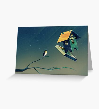 Flying Bird...house Greeting Card