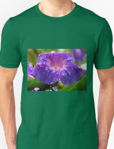 Morning Glory Petals and Dew Drops Vector T-Shirt
