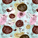 Cute Retro Patterns, Pastel Tones Flowers & Birds by artonwear