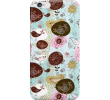 Cute Retro Patterns, Pastel Tones Flowers & Birds iPhone Case/Skin