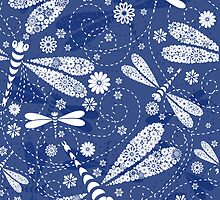 Cute Abstract Dragonflies In Blue & White by artonwear