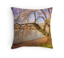 At The The Cherry Blossom Festival Throw Pillow