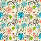 Cute Pastel Tones Retro Floral Pattern by artonwear