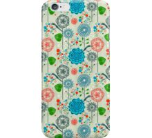 Cute Pastel Tones Retro Floral Pattern Cool Tones iPhone Case/Skin