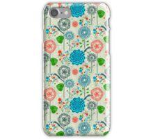 Cute Pastel Tones Retro Floral Pattern Cool Tones iPhone Case/Skin