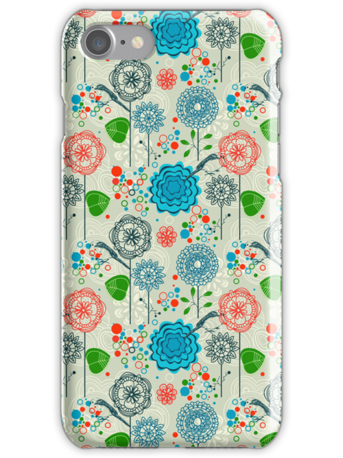 Cute Pastel Tones Retro Floral Pattern Cool Tones by artonwear