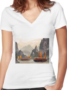 Ha Long Bay Women's Fitted V-Neck T-Shirt