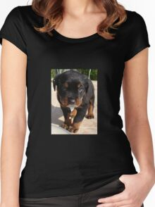 Cute Rottweiler Puppy Lapping Milk Women's Fitted Scoop T-Shirt