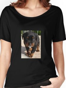 Cute Rottweiler Puppy Lapping Milk Women's Relaxed Fit T-Shirt