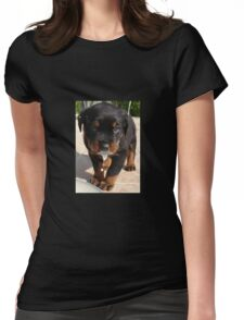 Cute Rottweiler Puppy Lapping Milk Womens Fitted T-Shirt