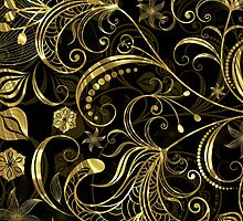 Back and Gold Tones Vintage Floral Swirls by artonwear