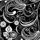Black & White Vintage Floral Swirls by artonwear