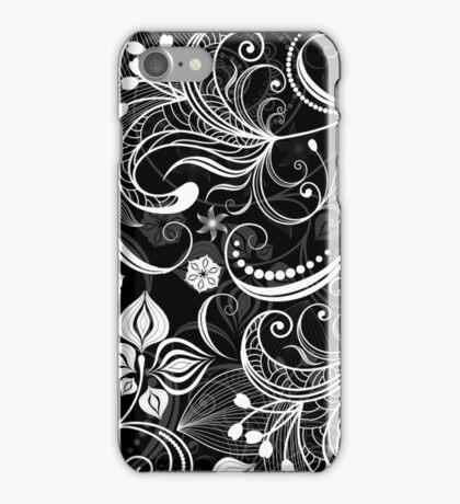 Black & White Vintage Floral Swirls iPhone Case/Skin