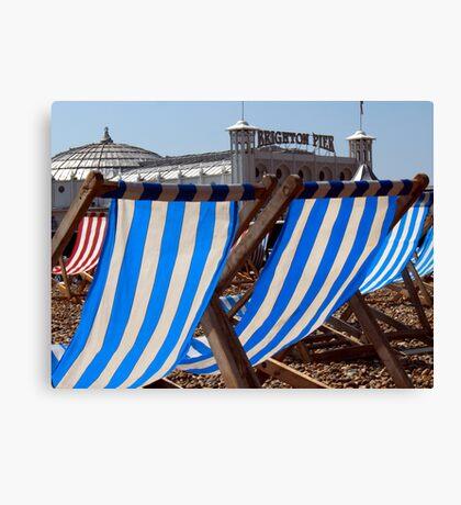 The Blue & White Stripes of Brighton Canvas Print