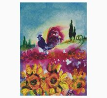 SUNFLOWERS, POPPIES AND BLACK ROOSTER IN BLUE SKY One Piece - Short Sleeve