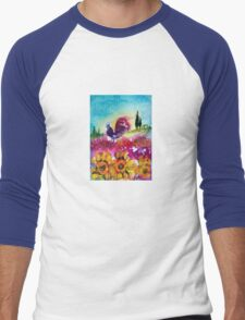 SUNFLOWERS, POPPIES AND BLACK ROOSTER IN BLUE SKY Men's Baseball ¾ T-Shirt