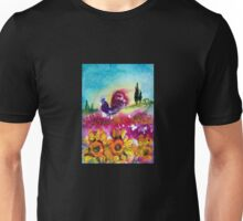 SUNFLOWERS, POPPIES AND BLACK ROOSTER IN BLUE SKY Unisex T-Shirt
