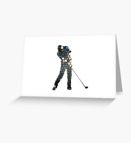 Tiger Woods Fragmented Glass T-Shirt Design  Greeting Card