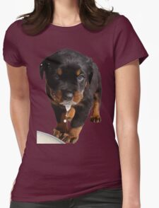 Cute Rottweiler Puppy Lapping Milk Vector Womens Fitted T-Shirt