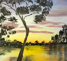 Sunrise over the Murray River at Lowson South Australia by PamelaMeredith