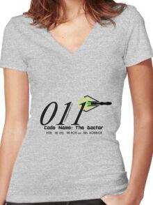 011 Black Women's Fitted V-Neck T-Shirt