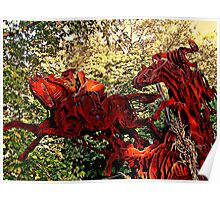 Ichabod and the Headless Horseman Sculpture, October 2009, Sleepy Hollow NY Poster