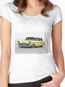 1957 Chevrolet Bel Air Wagon Women's Fitted Scoop T-Shirt